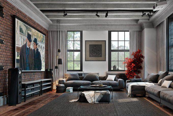 Оформление в стиле лофт сделает гостиную уникальной и неповторимой