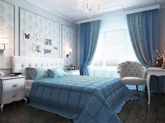 Сделать спальную комнату уютной и комфортной для отдыха можно при помощи голубого цвета