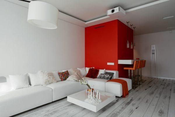 Оформление зала в красно-белом цвете прекрасно подойдет неординарным и творческим личностям