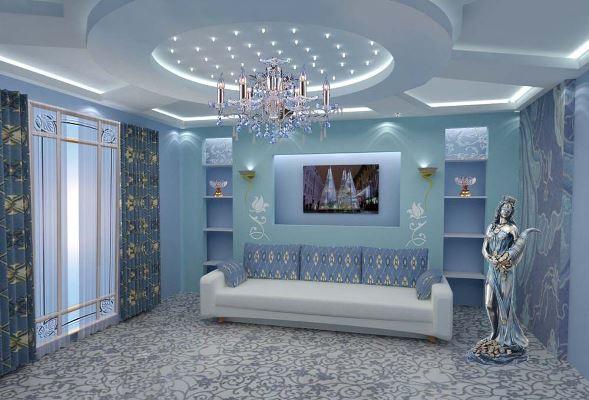 Голубой цвет в гостиной сделает комнату уютной, комфортной и стильной