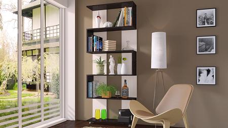 Стеллаж позволяет сделать гостиную более функциональной и практичной