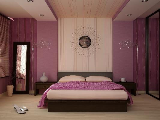 Оформление спальни в фиолетовом цвете предпочитают выбирать креативные и неординарные личности