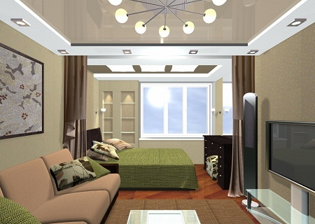 Спальня-гостиная является тем местом, где можно как принимать гостей, так и отдыхать в ночное время суток