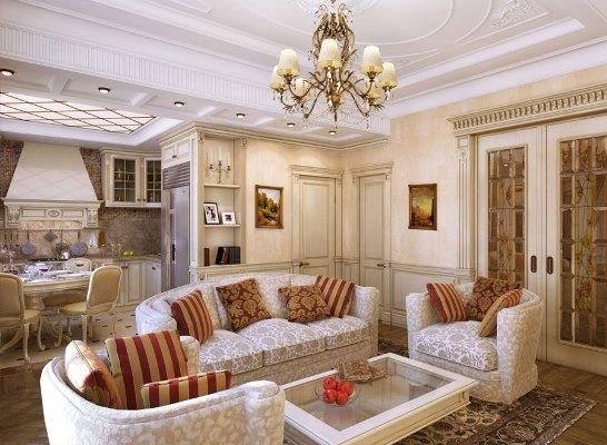 Классический стиль – это возможность сделать гостиную изысканной и красивой