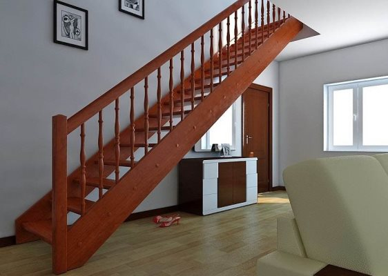 Красивая маршевая лестница вполне может стать главным акцентом в интерьере помещения