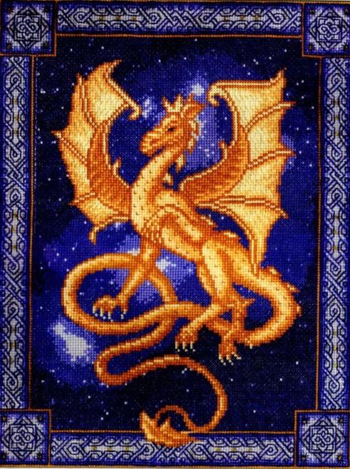 Вышитая крестиком картина с изображением дракона, привнесет в вашу жизнь атмосферу сказки и волшебства