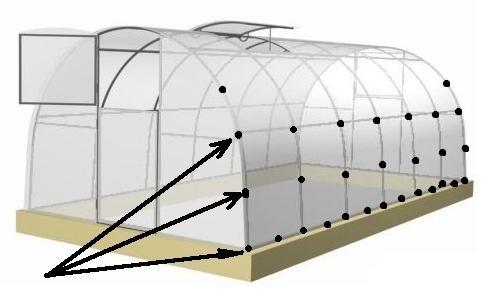 как закрепить поликарбонат на металлической теплице