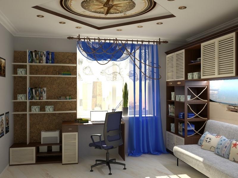 Морской стиль хорошо подойдет для дизайна любой комнаты