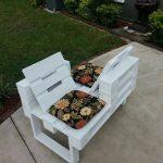 Двойная скамейка из паллет