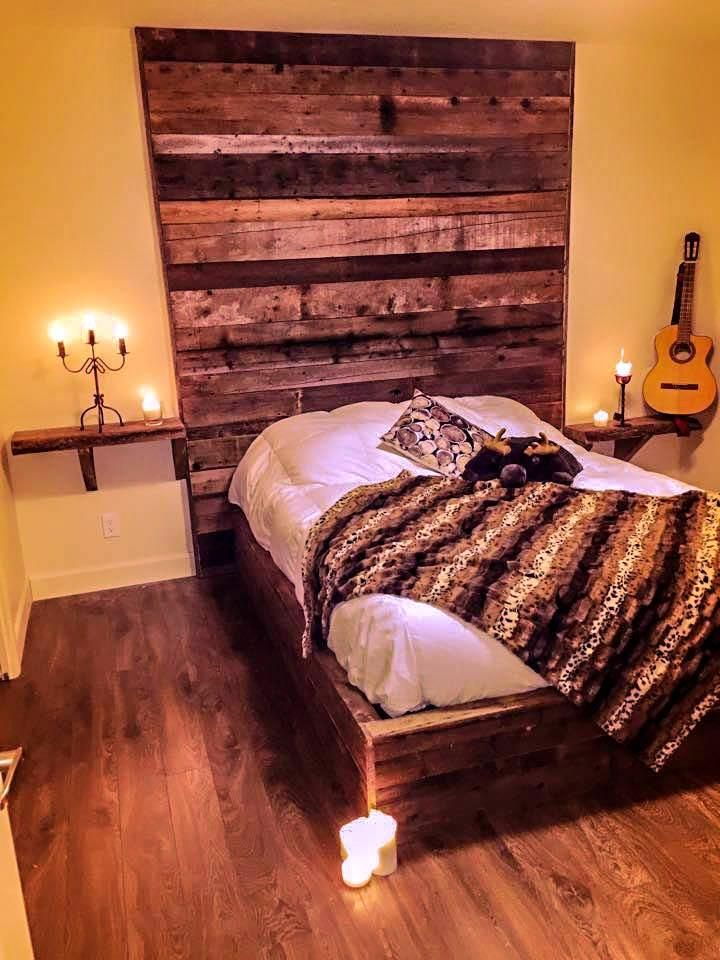 кровать из поддонов мореная