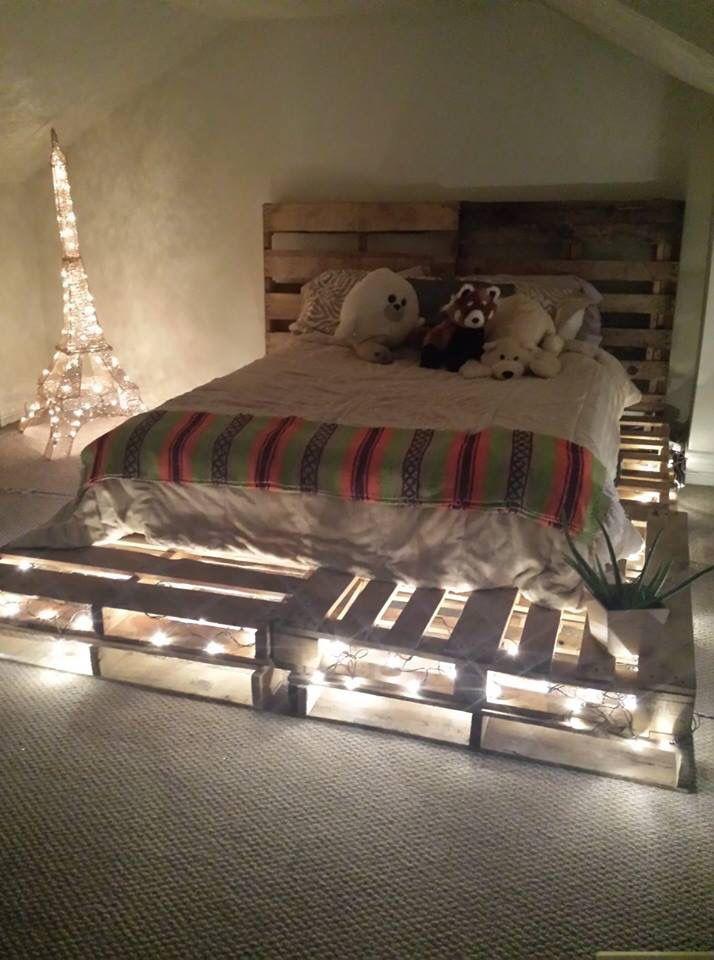 кровать из поддонов детская с подсветкой
