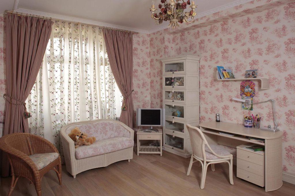 Дизайн интерьера прованс: детская  комната для девочки.