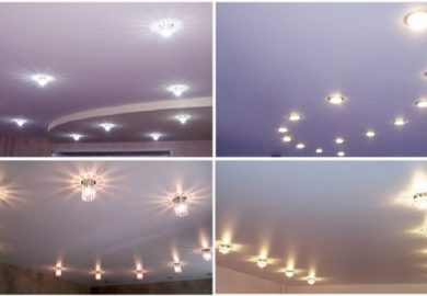 Расположение светильников на потолке