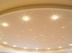 Все большую популярность приобретают встраиваемые светильники на натяжных потолках