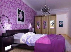 Фиолетовый цвет обоев смотрится изысканно, насыщенно и красочно