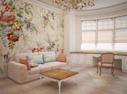 В стиле прованс предпочтение отдается обоям за счет того, что материал экологичный, представлен огромным разнообразием рисунков, узоров, расцветок, фактур