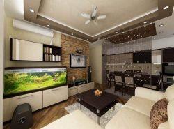 Как правило, зонирование кухни и гостиной делают в маленьких помещениях или квартирах-студиях
