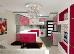 Рациональное расположение кухонной техники позволяет обеспечить простор на кухне-гостиной площадью в 18 кв. м
