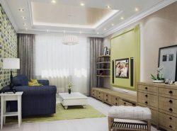 Как правило, гостиные в 18 кв м имеют прямоугольную или квадратную форму