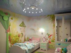 Натяжные потолки используют во всех комнатах и детская - не исключение