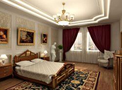 В дизайне спальни в классическом стиле зачастую преобладает золотой цвет