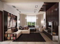 В гостиной необходимо правильно подбирать цветовую гамму для создания уюта в комнате