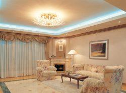 Можно создать необычную атмосферу в помещении, соорудив двухуровневые потолки из гипсокартона