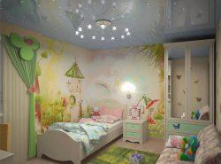Установив красивый, уютный и красочный потолок в комнату, вы подарите детям радость и хорошее настроение