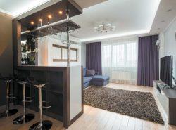 В совместной кухне с гостиной идеально впишется креативная барная стойка