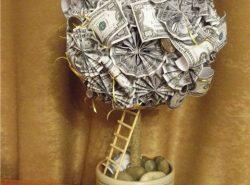 Использовать денежный топиарий можно не только для подарка, но и для украшения помещения
