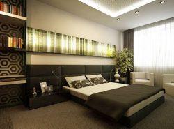 В интерьере современной спальни зачастую используются новомодные технические изобретения, например, неоновая подсветка на потолке