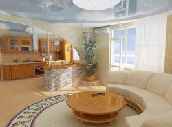 Гипсокартонная перегородка идеально подойдет для зонирования гостиной