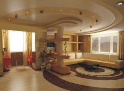 Потолок в гостиной должен соответствовать дизайну комнаты