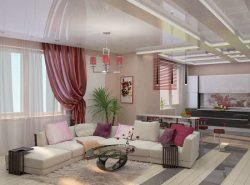 В угловые гостиные хорошо вписывается модульная мебель, которую рационально располагать по углам комнаты