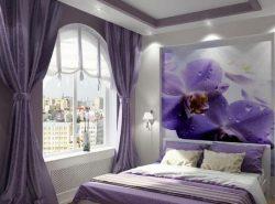 Сиреневый цвет в спальной комнате сделает ее уютной и комфортной для отдыха