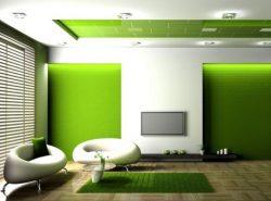 Зеленый цвет в оформлении гостиной позволит сделать комнату комфортной и уютной