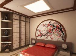 Спальня в японском стиле содержит минимум декора и выглядит лаконично