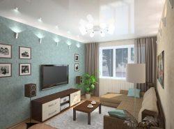 Чтобы гостиная площадью в 16 кв. м смотрелась гармонично, необходимо правильно подобрать цвета для оформления и рационально расставить предметы мебели