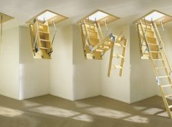 Раскладная лестница позволяет быстро и безопасно подняться на чердак