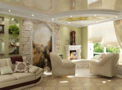 Фрески в интерьере гостиной сделают ее по-настоящему неординарной и оригинальной