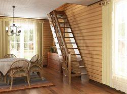 В условиях ограниченного пространства нужно чтобы лестница на второй этаж была максимально компактной и вместе с тем достаточно удобной для использования