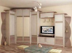 Красивая стенка со шкафом-купе прекрасно впишется в интерьер современной гостиной