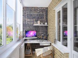 Из небольшого балкона вполне можно обустроить стильный и функциональный кабинет