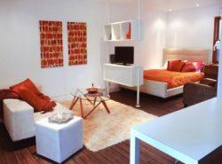Спальня и гостиная в одной комнате должны быть гармонично совмещены
